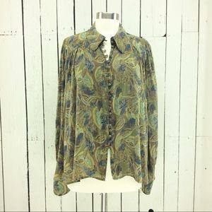 Free People green leaf print blouse